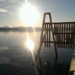Hurtigbåt kaia i Brøstabotn i kveld sol